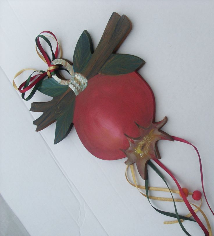 Colorful Pomegranate Fruit On Tree Branch  - Home Decor - Wall Hanging by allabouthandicraft on Etsy