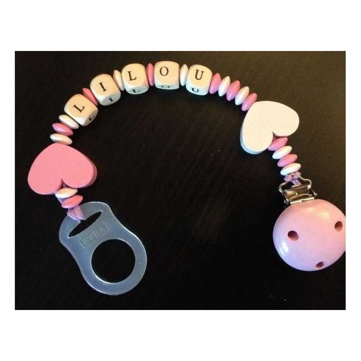 Attache tétine perle bois attache sucette blanc et rose pâle exemple: LILOU 14,30 € Le monde des Mininous
