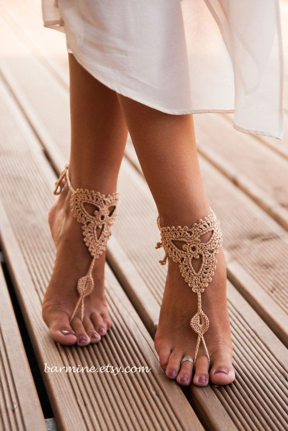 $15 Crochet Barefoot sandals-Champagne Bridal Barefoot sandal-Beach wedding barefoot sandals-Bridesmaid gift-Foot jewelry-Sexy Feet-Champagne