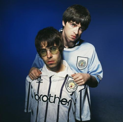 Liam Gallagher & Noel Gallagher wearing Manchester City Football Club Sport Jerseys. Come on the Blues. C.T.I.D.