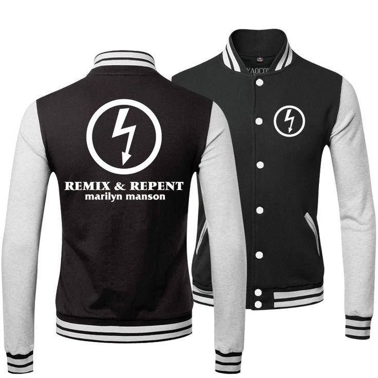 2015 New Winter Mens Outerwear Coats Loose Thick Tracksuit Sportswear Hip Hop Marilyn Manson Rock Band Baseball Jacket Men Brand #Affiliate