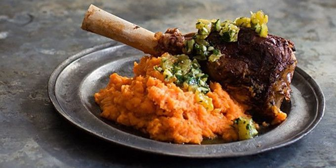 Our amazing slow cooked lamb shanks, from our Slow Cooker Cookbook.