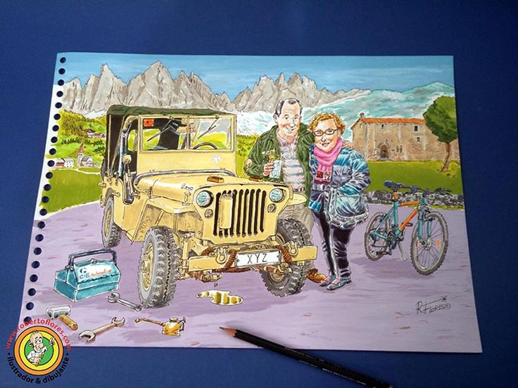 Commissioned order #cartoon for the Jambo Jeep meeting 2016. A #WillysJeep and his owner. Background, the #Dolomites mountains (#Italy) and the hermitage of La Antigua, #Zumarraga, #Guipuzkoa, #BasqueCountry.