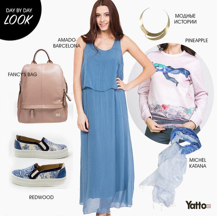 Нежный образ на лето   Look. Пастельные и голубые оттенки создают свежий и нежный образ, что особенно актуально летом. Кожаные слипоны от REDWOOD отлично смотрятся как под брюки, так и под платье. Аксессуары- стильный рюкзачок FANCY'S BAG и палантин от MICHEL KATANA еще больше подчеркивают мягкий образ. #daybydaylook #ищисвое #lookoftheday #yatto_look