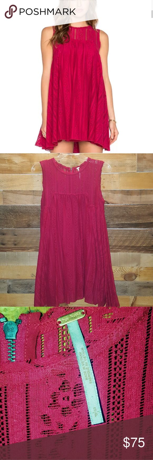 """💓LIKE NEW FREE PEOPLE TU-ES-LA MINI DRESS FREE PEOPLE TU-ES-LA MINI DRESS LIKE NEW WORN ONCE AROUND HOUSE SIZE SMALL SHELL 73% COTTON/27% NYLON, LINING 100% RAYON 32"""" FROM SHOULDER SEAM TO HEM COLOR RUBY RED EMBROIDERED LACE DETAIL DESIGN BOHEMIAN CHIC MINI DRESS FEMININE VOLUME WITH PLEATS & FLARED HEM EXPOSED BACK ZIPPER, SLEEVELESS FULLY LINED 💓BEAUTIFUL DRESS FOR ANY OCASSION💓 *PLEASE KNOW YOUR SIZE,NO RETURNS NO TRADES NO HOLDS* Free People Dresses Mini"""