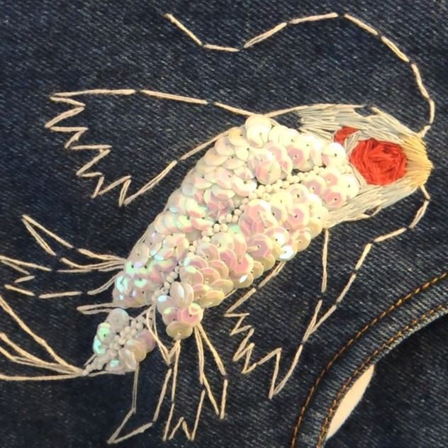 Anežka Bauer Hájková Illustration  #embroidery #wip #workprocess #illustration #clothrehab #koifish #japan #vaporwave #art #artist #czechillustration #prague