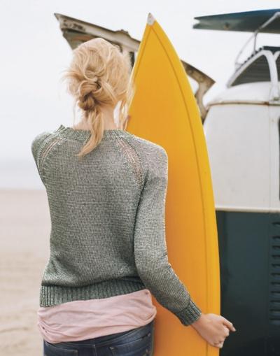 Simple gray sweater, yellow board