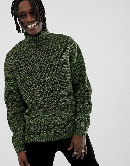 58121bf8 DESIGN knitted oversized rib sweater in green | asos men - Ribbed ...