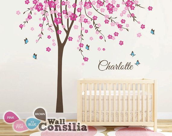 Baby nursery tree wall decal large cherry blossom tree for Baby nursery tree mural