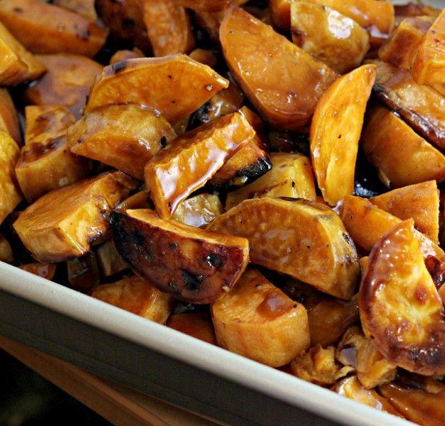 Sweet Potatoes with Bourbon and Maple Recipe #MeatlessMonday via @Marcus Samuelsson