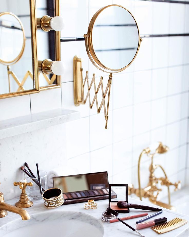 makeup prep in marble and gold bathroom by With Love From Kat