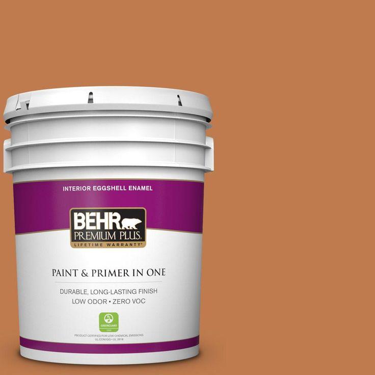 BEHR Premium Plus 5 gal. #260D-6 Chai Spice Zero VOC Eggshell Enamel Interior Paint
