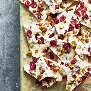 Cranberry-Pistachio White Chocolate Bark with Sea Salt   MyRecipes.com