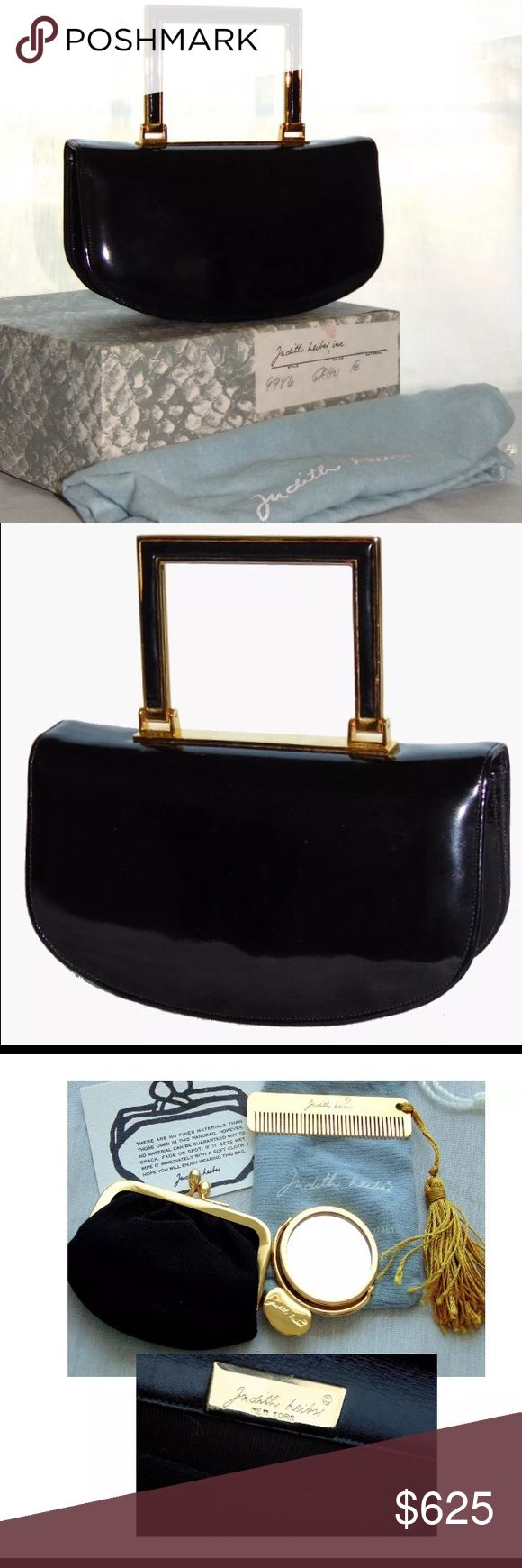 """Judith Leiber Black Patent Leather Evening Bag In excellent condition, it looks like it was barely, if ever, used.  Comes with dust cover, box and all accessories.  Measures 7""""L x 7""""H x 4""""D with a 3"""" handle drop. judith leiber Bags Mini Bags"""