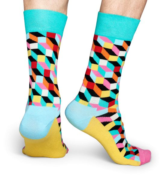 Add a splash of eye-popping color to any outfit by pulling on a pair of filled optic socks. Vibrantly designed, these socks feature blue, teal, pink, yellow, black, white, red and orange squares and rectangles to create a memorable geometric pattern. Because they're super comfy and warm, these combed cotton socks will soon become your favorite! Available in sizes for women and men.