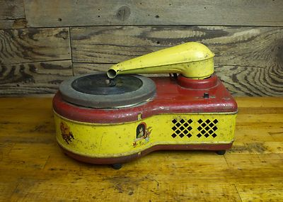Vintage Industrial Kids Toy Electric Phonograph Display Lindstrom Corporation