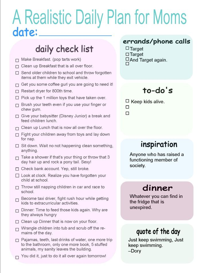 A Realistic, Down-to-Earth, Sensible, Practical Daily Schedule for Moms - Moms Without Answers #dailyplan #dailyplanformoms #funnymoms