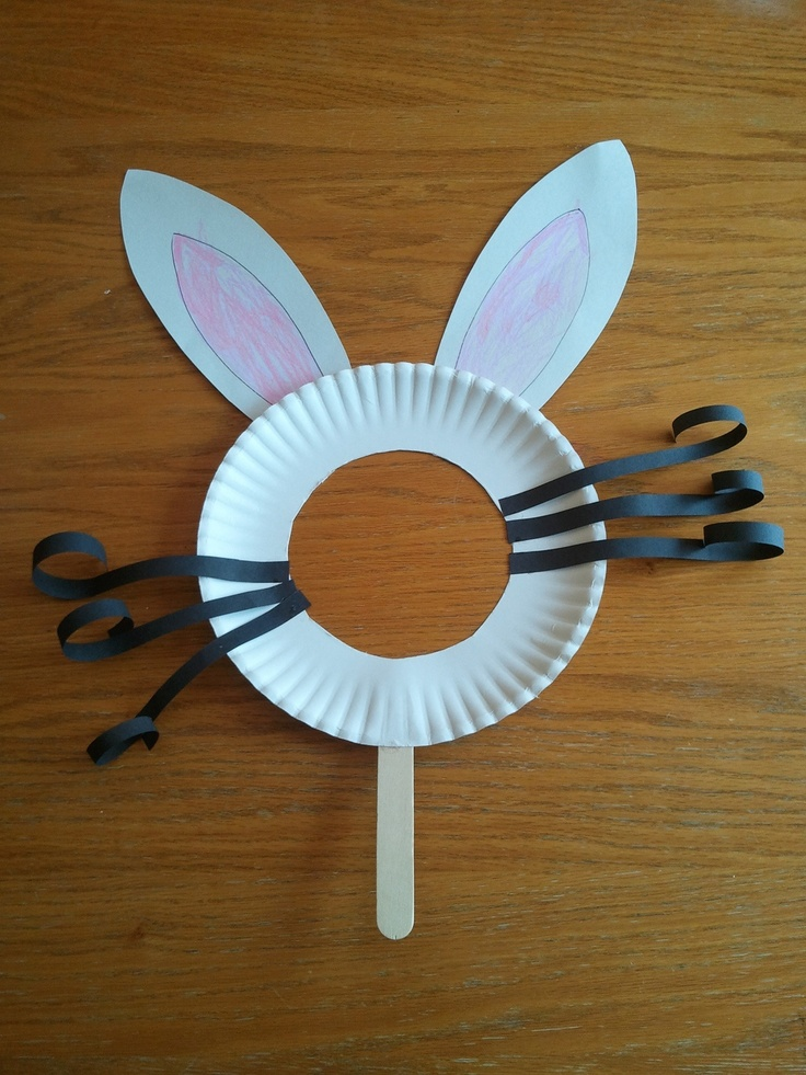 Bunny face: paper plate with the middle circle cut out, popsicle stick, paper strips or pipe cleaners for whiskers, and paper for bunny ears