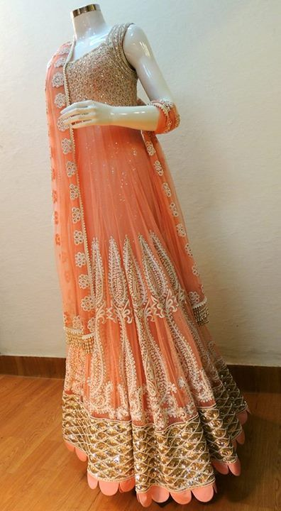 Peach Orange Anarkali Lehenga Creativity Fabrics Best Free Home Design Idea Inspiration