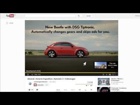 """the end of the 5 seconds of mandatory waiting time, the video automatically clicks the """"skip ad"""" button. The lettering explains: """"New Beetle with DSG Tiptronic transmission. You don't shift gears. Neither does the commercial"""". Surely one of the best features ever added to YouTube?"""