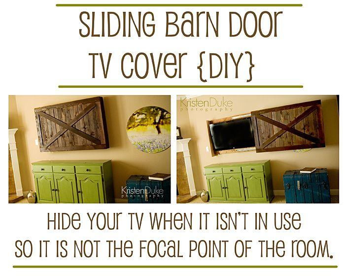 barndoorX: Idea, Sliding Barns Doors, Sliding Barn Doors, Diy Sliding, Tv Covers, Doors Tv, Tvs, Sliding Doors, Crafts