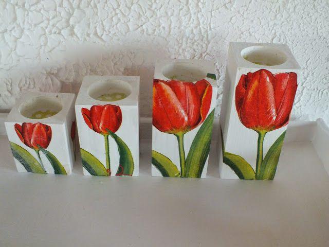 Co ja robię tu?...: Tulipanowa inspiracja- świeczniki