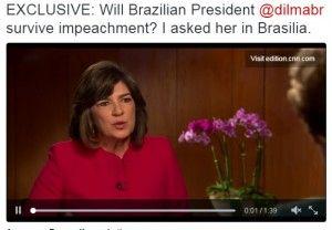 Dilma Rousseff não enfrentou tempo fácil na entrevista com a bam-bam-bam da CNN, Christiane Amanpour, gravada hoje e que vai ao ar na quinta-feira.