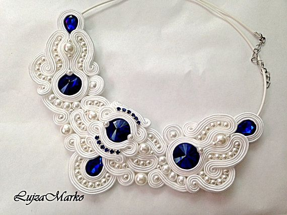 White dark blue wedding soutache necklace