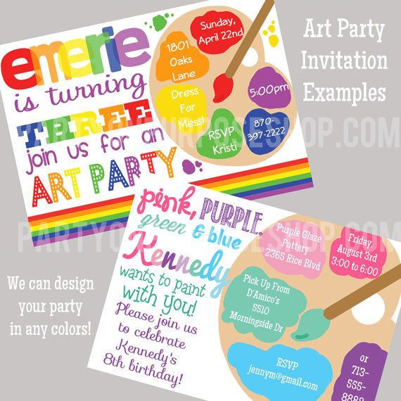 25 best ideas about Art party invitations – Art Party Invitation Templates