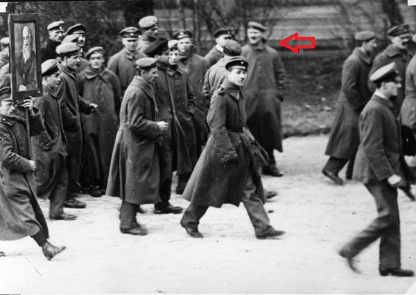 Adolf Hitler on February 26, 1919 at the funeral of Kurt Eisner, a Jewish journalist and statesman. This photo was taken by his photographer, Heinrich Hoffmann, who had no clue he was photographing his future boss.