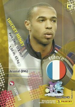 2002 Panini World Cup #62 Thierry Henry Back