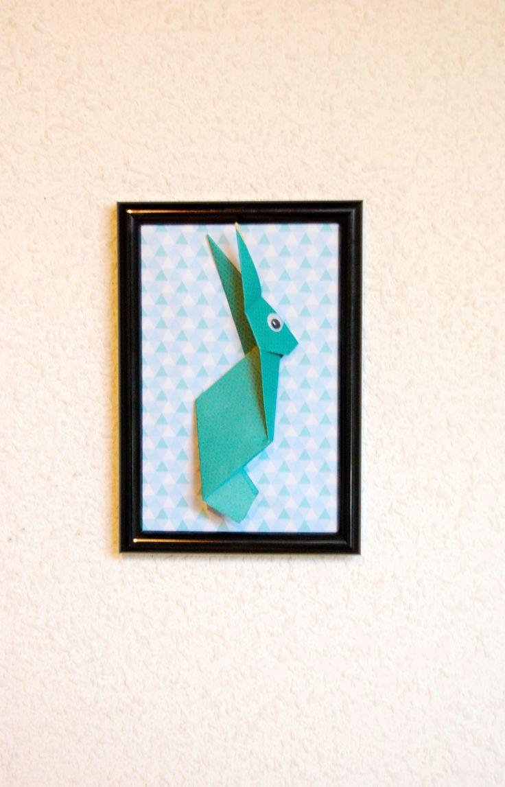 Cadre déco en Origami Lapin Malin : Chambre d'enfant, de bébé par petitspapierscelestes