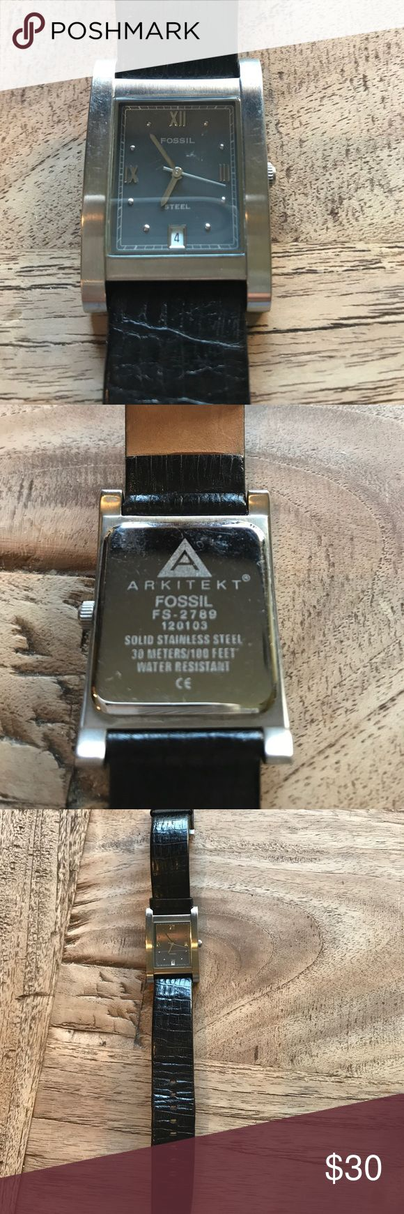 Women's Fossil Watch Great condition women's Fossil watch. Black band with gray face. Needs new battery. Fossil Accessories Watches