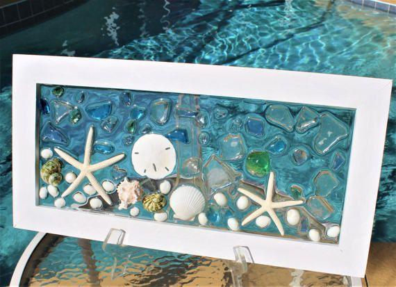 BEACH DECOR,Sea Glass Art Window,Beach Wall Art,Glass Art,Best Selling Item,Wedding Gifts for Couples,Flat Rate Shipping #160