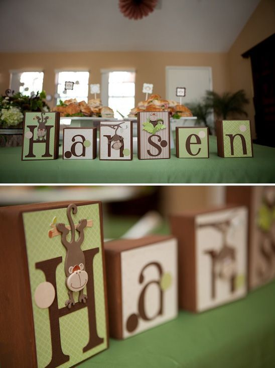 Monkey Themed Baby Shower - *Sherry, these could be made with the baby's name then after the party Andrea could keep these for the baby's room.