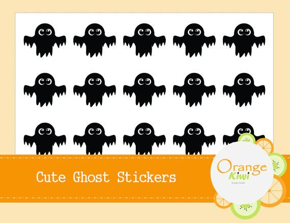 Halloween Ghost Stickers  Cute Ghost Stickers  by OrangeKiwiDesign