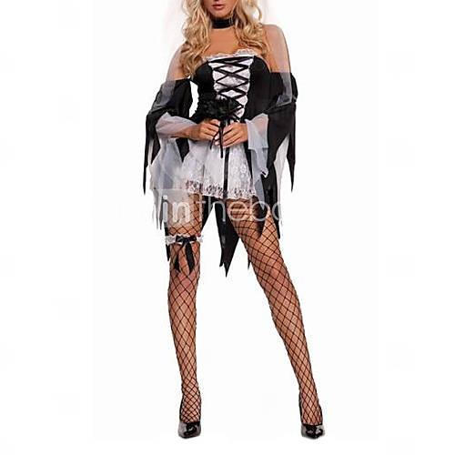 Sexy Духа невесты Труп Свадебный взрослых Хеллоуин костюм (4pieces)