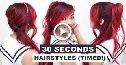 30 Seconds Hairstyles (TIMED!) l Running Late Hairstyles l Quick & Easy Hairstyles for School #hairstyles #Easyhairstyles
