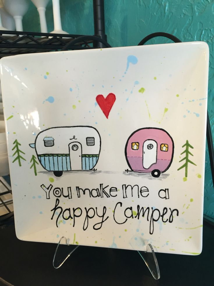 Happy Camper Plate painted at Kiln Creations, Noblesville, Indiana.  www.kilncreations.net