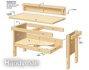 Classic #DIY Workbench #Plans - Get the tutorial: http://www.familyhandyman.com/workshop/workbench/classic-diy-workbench-plans/view-all