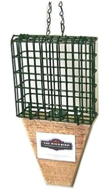 MW1P  No chew basket with tail prop Flip and Fill Suet Baskets. Holds 1 standard suet cake. Fruit or nesting material. Tail prop added for easy perching and for larger woodpeckers (no wooden sides)