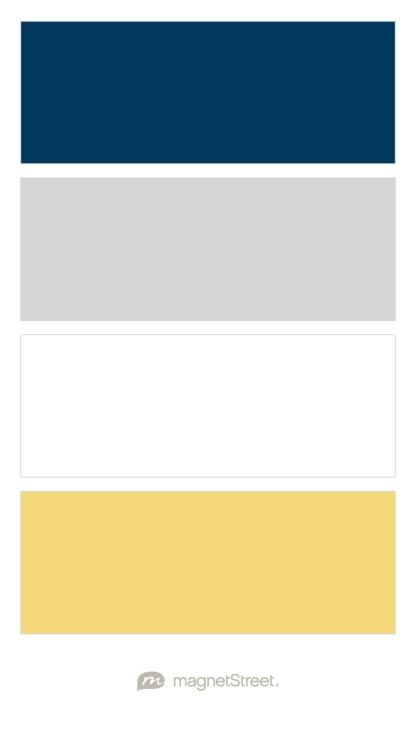 Navy, Silver, White, and Custom Yellow Wedding Color Palette - custom color palette created at MagnetStreet.com