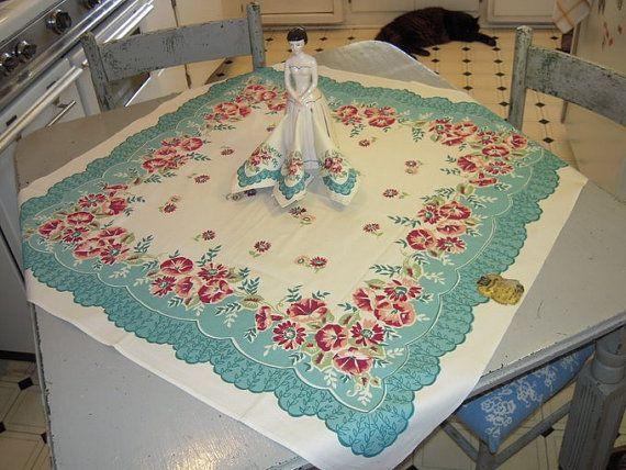 Vintage Tablecloth U0026 Napkins Pink And Aqua Blue Morning Glories MWT