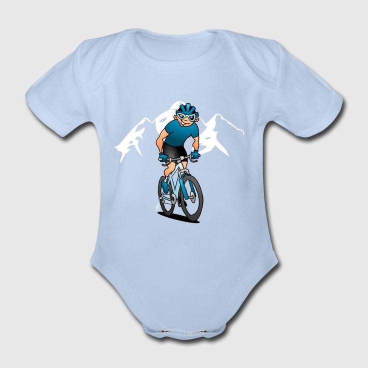 MTB - Mountainbiker in den Bergen Baby Bodys - Baby Bio-Kurzarm-Body  #MTB #ATB #VTT  #BTT #baby #Spreadshirt #Cardvibes #Tekenaartje #SOLD