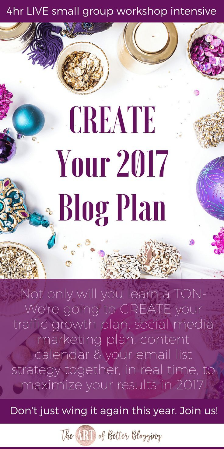 Not only will you learn a TON, we're going to CREATE your blog traffic growth plan, social media marketing plan, blogging content calendar & your email list/newsletter strategy together, in real time, to maximize your results in 2017!