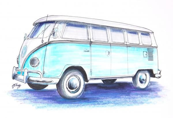 Line Drawing of old cars | Vw Bus Drawing by Terence John Cleary - Vw Bus Fine Art Prints