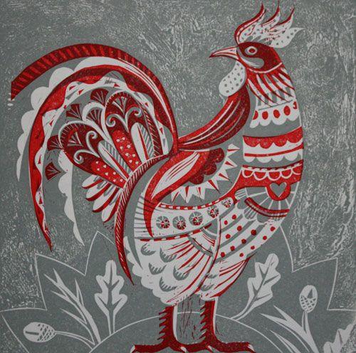Cockerel by Sarah Young from Emma Mason British Prints