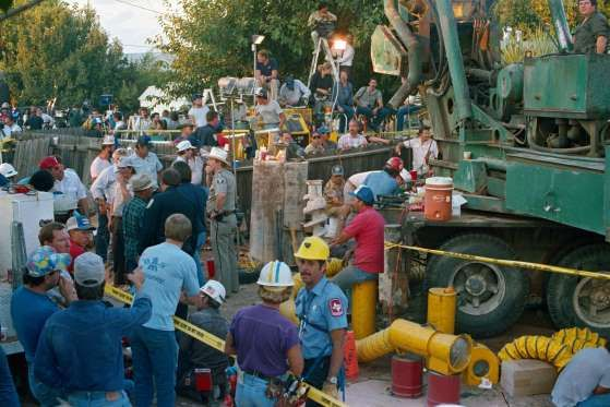October 16, 1987: BABY JESSICA IS RESCUED FROM A WELL  18-month-old baby Jessica McClure is rescued after being trapped for 58 hours in an abandoned well in Midland, Texas. McClure fell through 8 inch wide and 22 feet deep well casing while playing with other children in the backyard of her aunt's home.