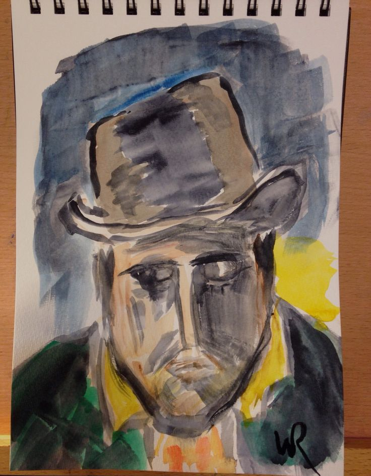 """Quick watercolor takeoff sketch of a Fauvist Maurice de Vlaminck portrait on 7""""x10"""" field book cold press paper (c) 2016 Wes Rehberg - free-falling ..."""
