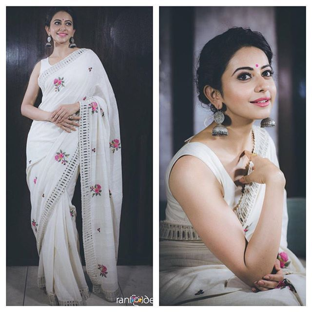 Rakul looks every bit elegant in @purvi.doshi & @fabindianews for Sakshi Awards @rangdephotography @ashgudala @instagladucame